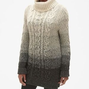 NWT GAP Cable-Knit Ombre Turtleneck Tunic Sweater